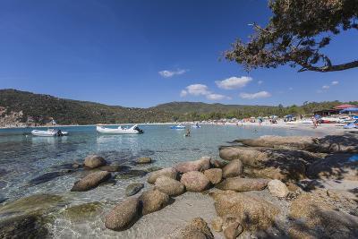 Boats in the Turquoise Sea Surround the Sandy Beach of Cala Pira Castiadas, Cagliari, Sardinia-Roberto Moiola-Photographic Print