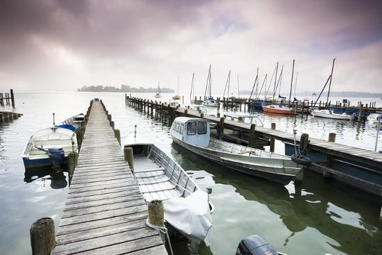 Boats, Jetties, Chiemsee, Fraueninsel, Morning Fog, Stormy Atmosphere-Frank Lukasseck-Photographic Print