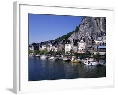 Boats Line the Waterfront on the River Meuse in the Old Town of Dinant in the Ardennes, Belgium-Hans Peter Merten-Framed Photographic Print