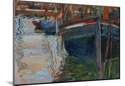Boats Mirrored in the Water, 1908-Egon Schiele-Mounted Print