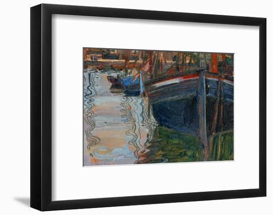 Boats Mirrored in the Water, 1908-Egon Schiele-Framed Premium Giclee Print