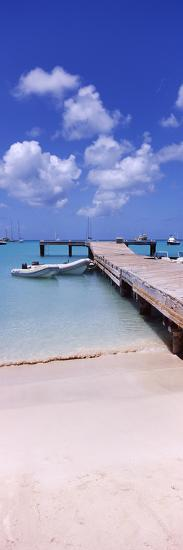 Boats Moored at a Pier, Sandy Ground, Anguilla--Photographic Print