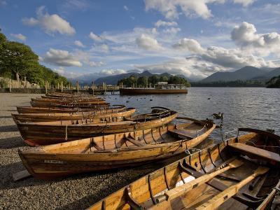Boats Moored at Derwentwater, Lake District National Park, Cumbria, England, United Kingdom, Europe-Jean Brooks-Photographic Print