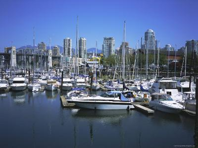 Boats Moored in False Creek by Granville Island with Downtown Vancouver Beyond, Canada-Pearl Bucknell-Photographic Print