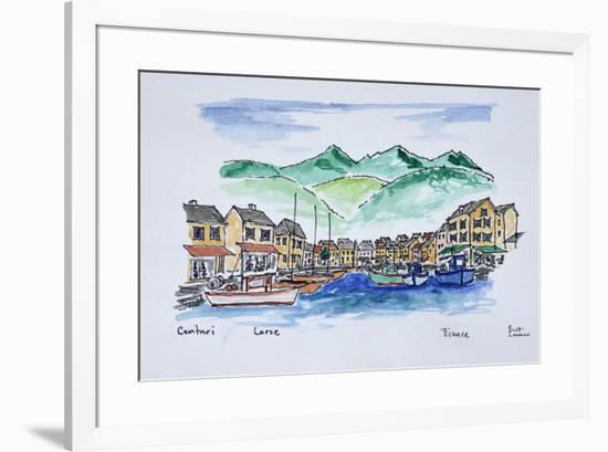 Boats moored in the harbor of Centuri, Corsica, France-Richard Lawrence-Framed Premium Photographic Print
