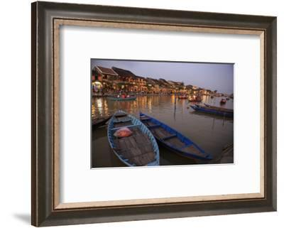 Boats moored on the Thu Bon River opposite Bach Dang Street in the old town of Hoi An, Vietnam-Paul Dymond-Framed Photographic Print