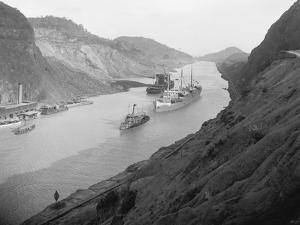 Boats Move Through Panama Canal at the Culebra Cut, Ca. 1915