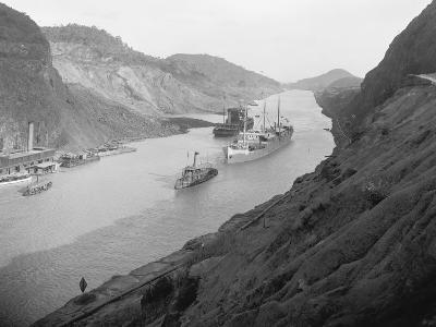 Boats Move Through Panama Canal at the Culebra Cut, Ca. 1915--Photo