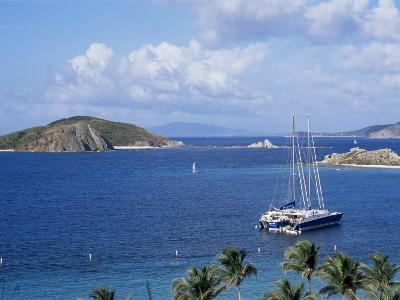 Boats off Dead Man's Beach, Peter Island Resort, British Virgin Islands-Alison Wright-Photographic Print