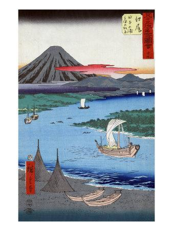 Boats on a River and ashore with Mount Fuji in the Distance, Japanese Wood-Cut Print-Lantern Press-Art Print