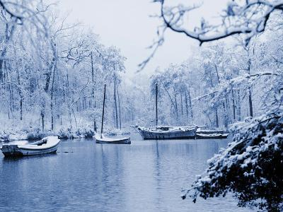 Boats on a Snowy Lake Maury, 1937--Photographic Print