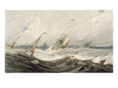 Boats on a Stormy Sea (W/C over Graphite on Wove Paper)-Francois Louis Thomas Francia-Giclee Print