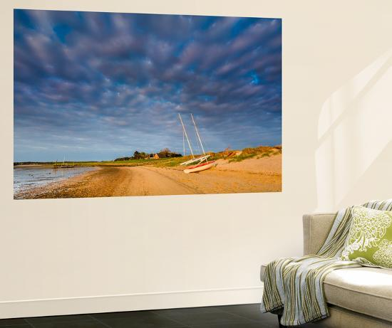 Boats on Beach, Steenodde, Amrum Island, Northern Frisia, Schleswig-Holstein, Germany-Sabine Lubenow-Wall Mural
