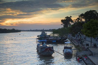 Boats on Ben Tre River at Sunset, Ben Tre, Mekong Delta, Vietnam, Indochina, Southeast Asia, Asia-Ian Trower-Photographic Print