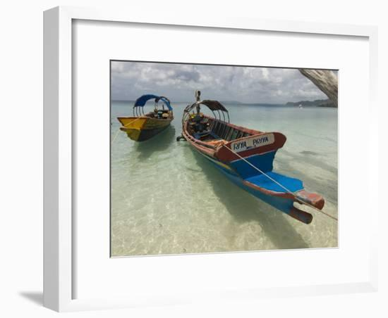Boats on Coast in Turquoise Water, Havelock Island, Andaman Islands, India, Indian Ocean, Asia-Michael Runkel-Framed Photographic Print