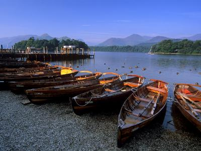 Boats on Derwent Water at Keswick, Lake District National Park, Cumbria, England, United Kingdom-Patrick Dieudonne-Photographic Print