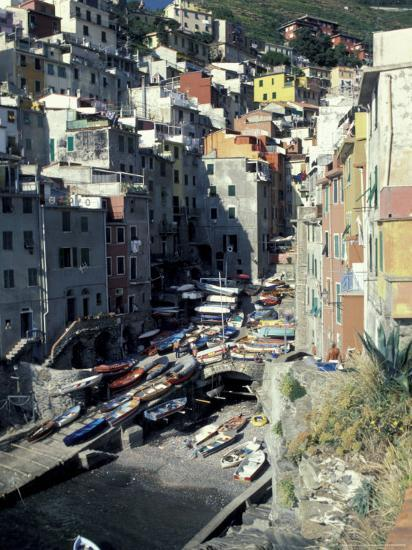 Boats on Downtown Shore, Cinque Terre, Italy-Greg Gawlowski-Photographic Print