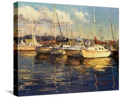 Boats On Glassy Harbor-Furtesen-Stretched Canvas Print