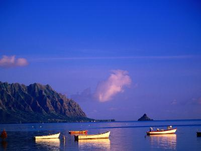 Boats on Kanehoe Bay with Chinaman's Hat in the Distance, Kaneohe, U.S.A.-Ann Cecil-Photographic Print