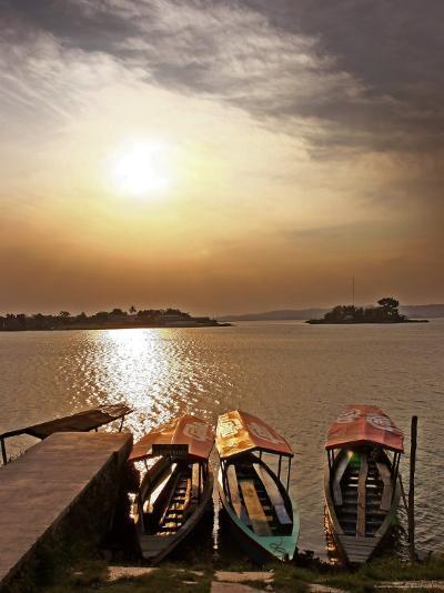 Boats on Lago De Peten Itza-John Sones-Photographic Print