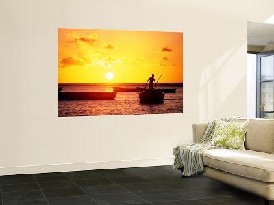 Boats on Sea at Sunset-Tom Cockrem-Giant Art Print