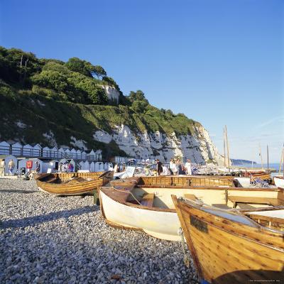 Boats on the Beach, Beer, Devon, England, UK-John Miller-Photographic Print