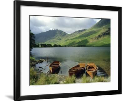 Boats on the Lake, Buttermere, Lake District National Park, Cumbria, England, UK-Roy Rainford-Framed Photographic Print