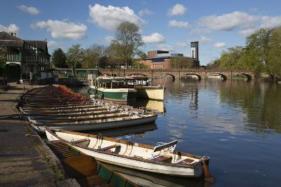 Boats on the River Avon and the Royal Shakespeare Theatre-Stuart Black-Photographic Print