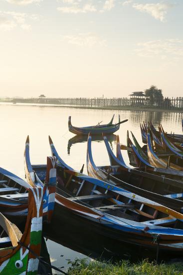 Boats on the Taungthaman Lake Near Amarapura with the U Bein Teak Bridge Behind, Myanmar (Burma)-Alex Robinson-Photographic Print