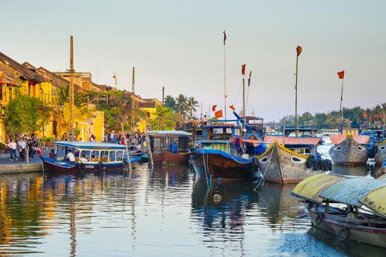Boats on the Thu Bon River at Sunset, Hoi An, Quang Nam Province, Vietnam, Indochina-Jason Langley-Photographic Print