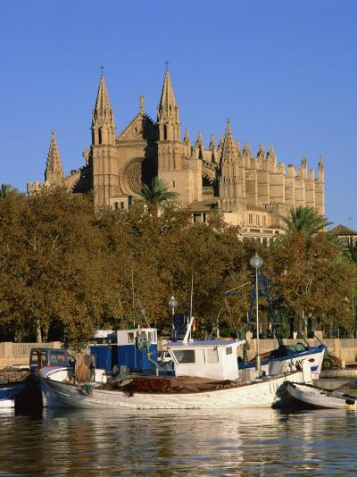 Boats on the Waterfront Below the Cathedral of Palma, on Majorca, Balearic Islands, Spain--Photographic Print