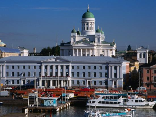 Boats on Waterfront and Lutheran Church in Distance, Helsinki, Finland-Wayne Walton-Photographic Print