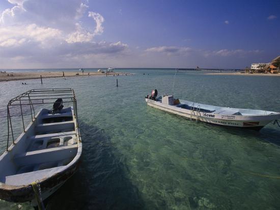 Boats, Playa Norte, Isla Mujeres, Mexico-Walter Bibikow-Photographic Print