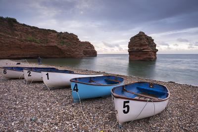 Boats Pulled Up on the Shingle at Ladram Bay on the Jurassic Coast, Devon, England-Adam Burton-Photographic Print