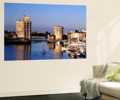 Boats, Vieux Port, Tour Saint-Nicolas, Tour De La Chaine, La Rochelle, France-David Barnes-Wall Mural
