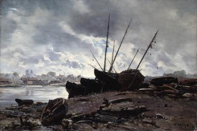 Boats Waiting for the Tide, 1882-Emmanuel Lansyer-Giclee Print