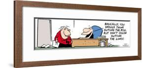 Frank & Ernest - Basically, you should think outside the box, but don't color outside the lines! by Bob and Tom Thaves