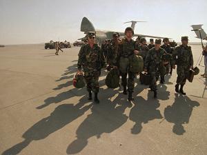 Saudi Arabia Army Soldiers U.S.Troops Arriving Air Base by Bob Daugherty