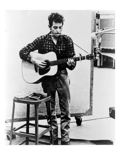 Bob Dylan Playing Guitar and Harmonica into Microphone. 1965--Photo