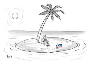 Bearded man sits on a deserted island. A campaign sign in front of him rea? - New Yorker Cartoon by Bob Eckstein