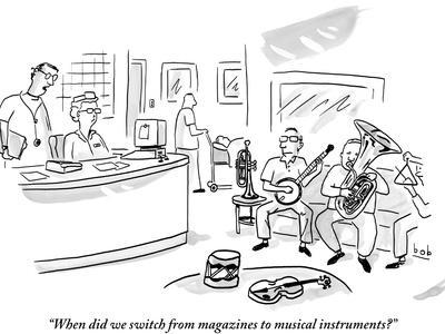 """When did we switch from magazines to musical instruments?"" - New Yorker Cartoon"