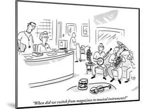 """""""When did we switch from magazines to musical instruments?"""" - New Yorker Cartoon by Bob Eckstein"""