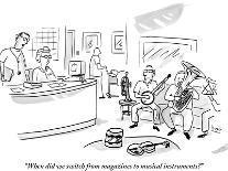 """When did we switch from magazines to musical instruments?"" - New Yorker Cartoon-Bob Eckstein-Premium Giclee Print"