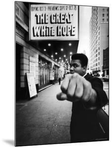 """Heavyweight Boxer Muhammad Ali Outside the Alvin Theater Where """"The Great White Hope"""" is Playing by Bob Gomel"""