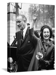 President Lyndon B. Johnson with Ladybird, on Her 3 Day Tour of Schools in the Appalachia by Bob Gomel