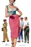 "Girl Shy  - Saturday Evening Post ""Leading Ladies"", August 13, 1955 pg.24-Bob Hillbert-Giclee Print"