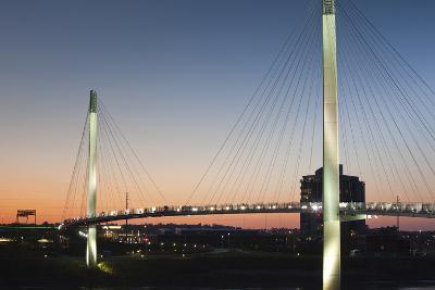 Bob Kerrey Pedestrian Bridge, Missouri River, Omaha, Nebraska, USA-Walter Bibikow-Photographic Print