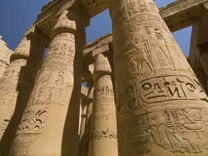 Columns with Hieroglyphs at Karnak Temple by Bob Krist