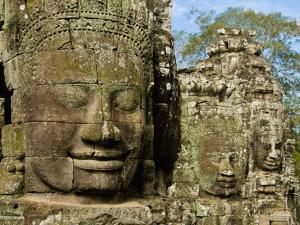 Detail of Face on Bayon Temple by Bob Krist
