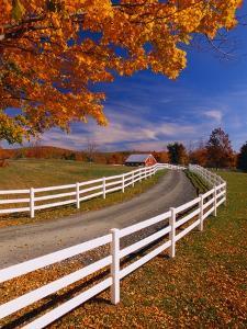 White Wooden Fence Along Farm by Bob Krist